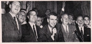 Victory Ticket at City Hall on election night, May 14, 1957. Left to right: Charles S. Witkowski, Thomas Gangemi,  State Senator James F. Murray, Jr., William V. Mc McLaughlin, and August W. Heckman.