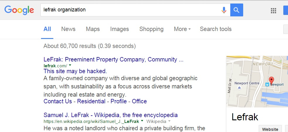 Lefrak Web Site hacked?