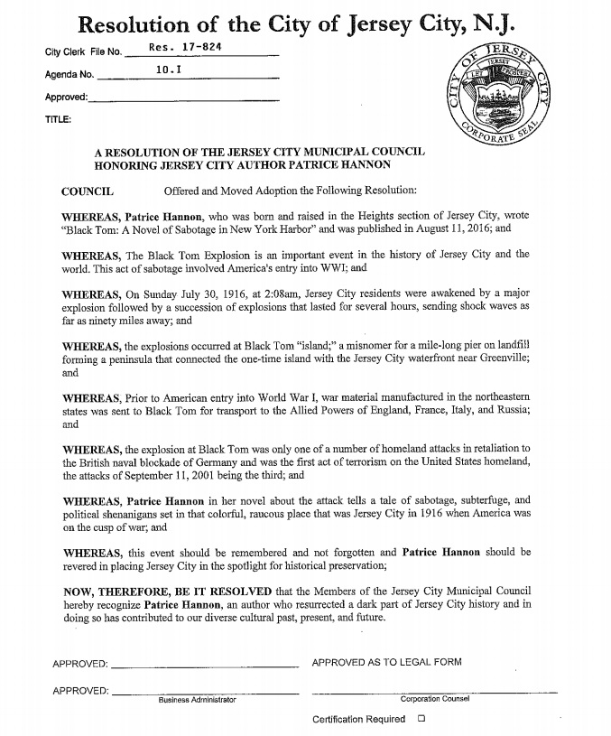 Resolution honoring Patrice Hannon for her book on the Black Tom explosion