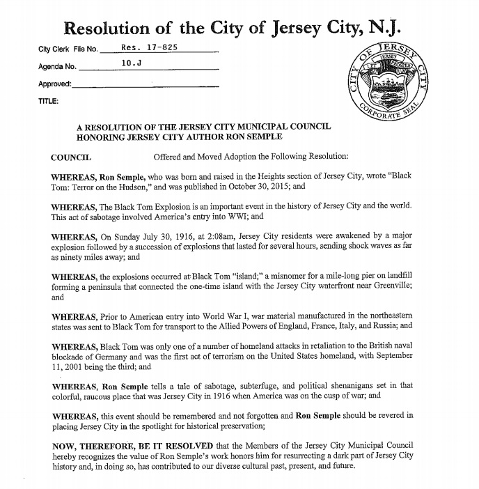 Resolution honoring Ron Semple for his book on the Black Tom explosion